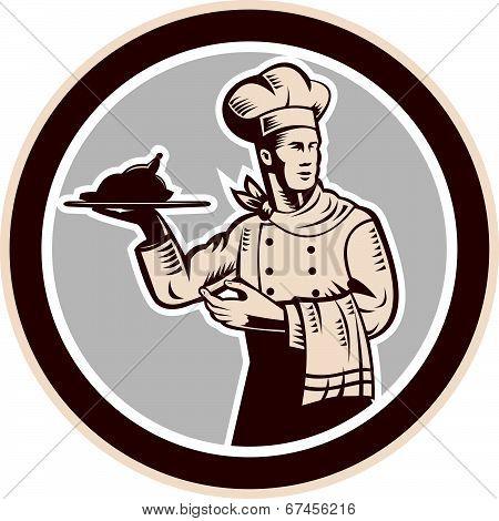 Chef Cook Serving Food Platter Circle Retro