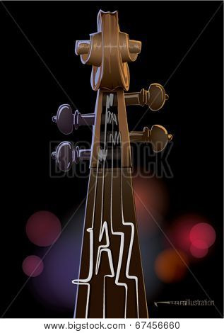 Contrabass. Jazz concept made from musical strings for poster design