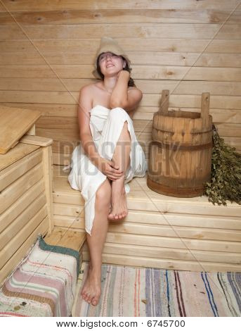 Woman Take A Steam Bath At Sauna