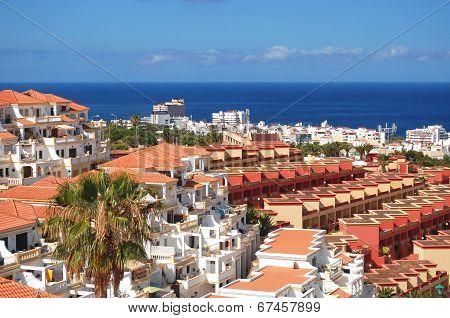picturesque outstanding landscape of beautiful resort playa de las americas on tenerife, canary isla