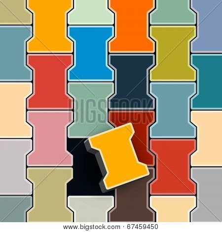 Abstract Colorful Retro Lock Pavement Vector Illustration