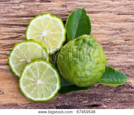 Kaffir Limes On Old Wood