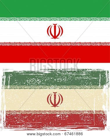 Iranian grunge flag. Vector illustration