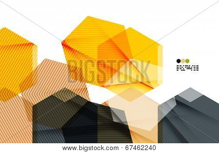 Bright yellow and dark textured geometric shapes isolated on white - modern design template
