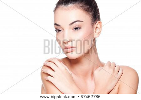 Beautiful Woman Isolated On White Background
