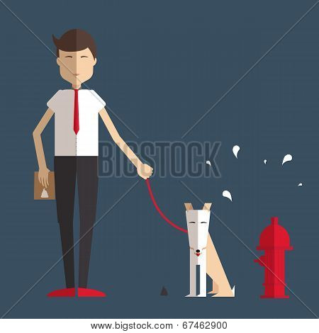 Young Man Walking A Dog.