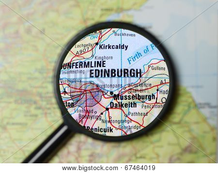 Edinburgh magnified on a map