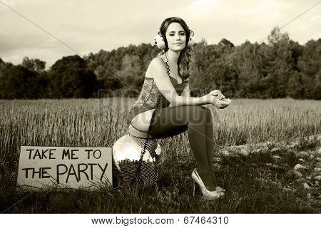 Summer Party Disco Girl