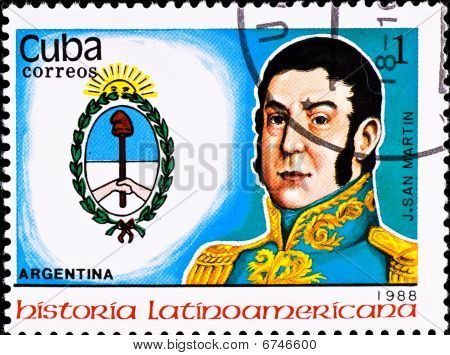 Postage Stamp Shows Argentina Chief J. San Martin