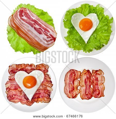 Protein foods nutritious meals on a plate with , bacon, egg, lettuce isolated on white background