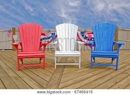 patriotic Adirondack chairs