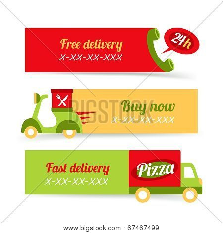 Pizza fast delivery banners