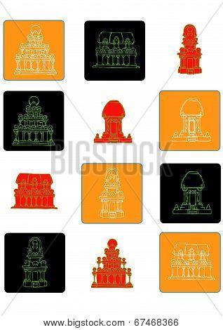 India flat icon set 2 color