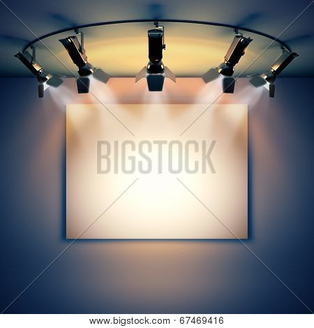 3d render illustration blank template layout of empty white picture canvas on wall illuminated by spotlights.