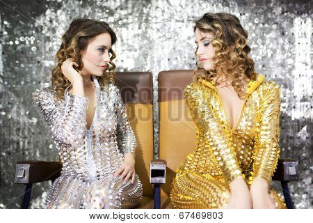 Beautiful Disco Twins I Golden And Silver Catsuit
