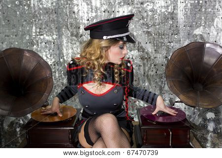 Beautful Military Disco Dj With Gramophones