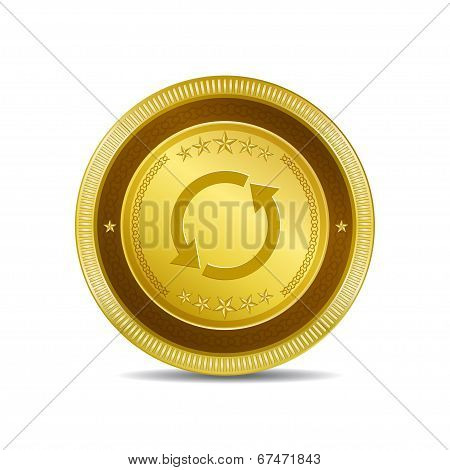 Reset Sync Circular Vector Gold Web Icon Button