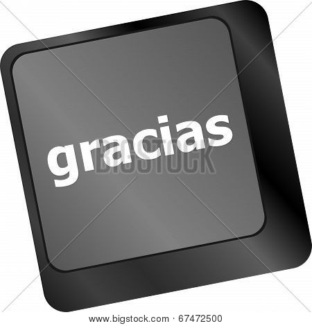 Computer Keyboard Keys With Word Gracias, Spanish Thank You