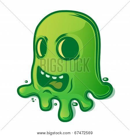 Scary Green Slug Isolated On White Background. Halloween Symbol. Vector Illustration