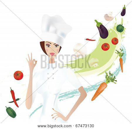 Chef showing Ok Gesture with Vegetables