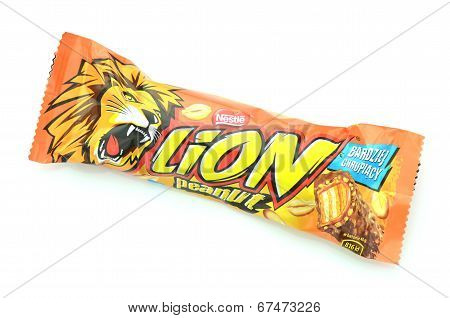 Lion chocolate bar isolated on white background.