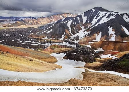 Landmannalaugar, Rhyolite Colour Mountains Of Iceland