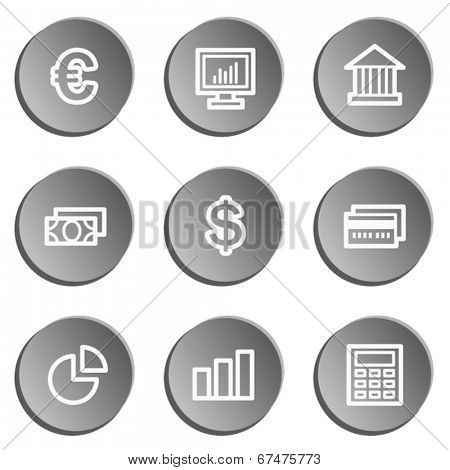 Finance web icon set 1, grey stickers set