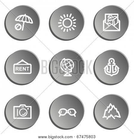Travel  web icon set 5,  grey stickers set