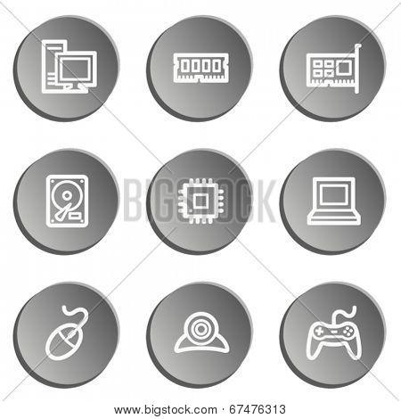 Computer web icons, grey stickers set
