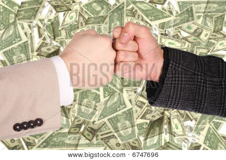 Two Fists Gesture On Dollar Background Collage