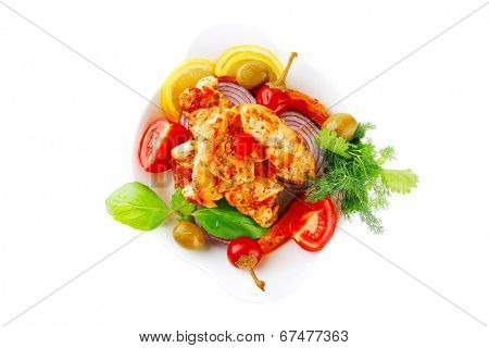 main course of chicken brisket served with vegetables