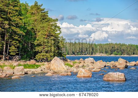 Landscape With Islands In Finland Gulf