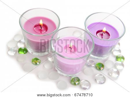 Beautiful colorful candles isolated on white