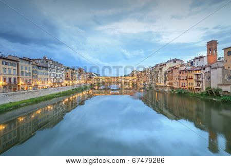 Ponte Vecchio from St Trinity bridge, Florence