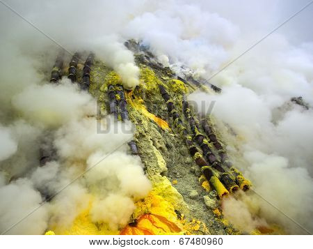 Pipes Used for Sulfur Mining Inside the Kawah Ijen Volcano, Java, Indonesia