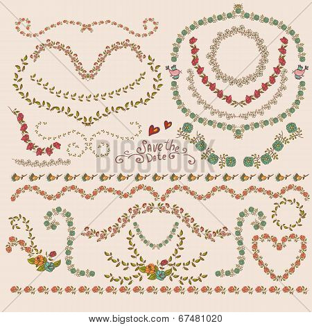 Floral Laurels, Ribbons, Wreaths Vector