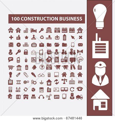 100 construction, development, land, architecture, city, business plan icons, signs set, vector