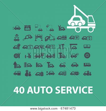40 auto, car, service, repair, station icons, signs set, vector