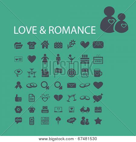 love, romance, wedding, family, couple, relations icons, signs set, vector