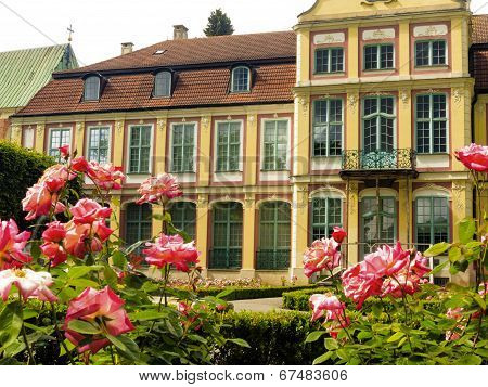 Abbots Palace And Flowers In Gdansk Oliva Park