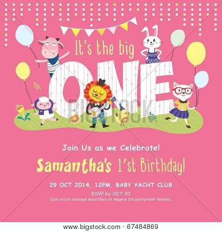 1st Birthday Party Invitation Card