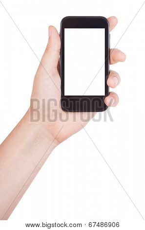 Man's hand holding mobile phone isolated on white background