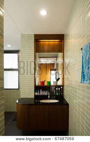 Washbasin With A Shelf And A Mirror