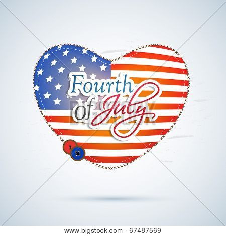Stylish heart shape covered in national flag colors on blue background for 4th of July, American Independence Day celebrations.