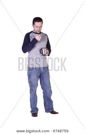 Mediterranean Man Smoking And Drinking Coffee