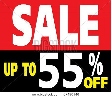 Sale Up To 55 Percents Promotion Label