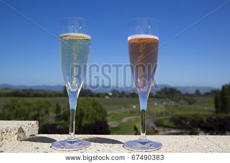 Glasses with white and rose sparkling wine