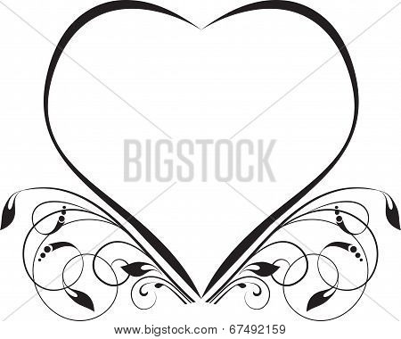 Abstract floral background. Vector heart with flower.