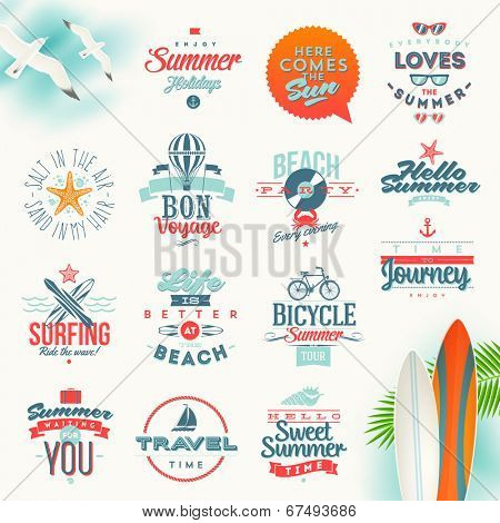 Vector set of travel and summer vacation type design