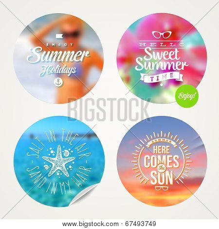 Summer holidays and tropical vacation - set of colorful sticker with type design on a defocused background